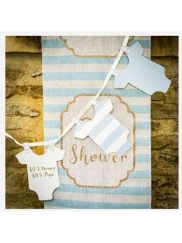 Chemin de table lin baby shower bleu ciel