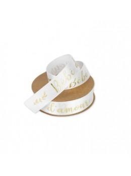 Ruban bébé d'amour satin blanc floqué or 1.9cmX10m
