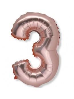 Ballon Chiffre 3 Rose Gold