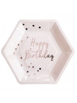 8 Assiettes Happy Birthday Confetti Rose Gold