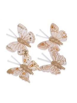 8 Papillons sur pince pailletés or