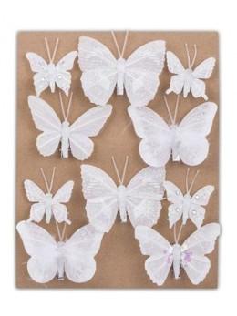 10 Papillons sur pince pailletés blanc