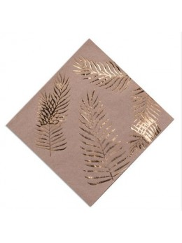 16 Serviettes papier fougères dorées