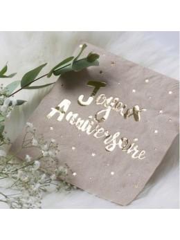 16 serviettes kraft joyeux anniversaire doré