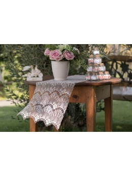 Chemin de table boho chic pêche