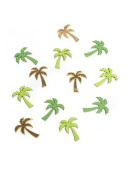 12 confetti palmiers en bois vert et or