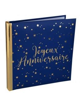 Livre d'or anniversaire bleu et or