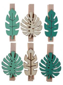 6 Pinces nature feuilles tropicales