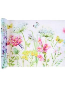Chemin de table papillons et fleurs