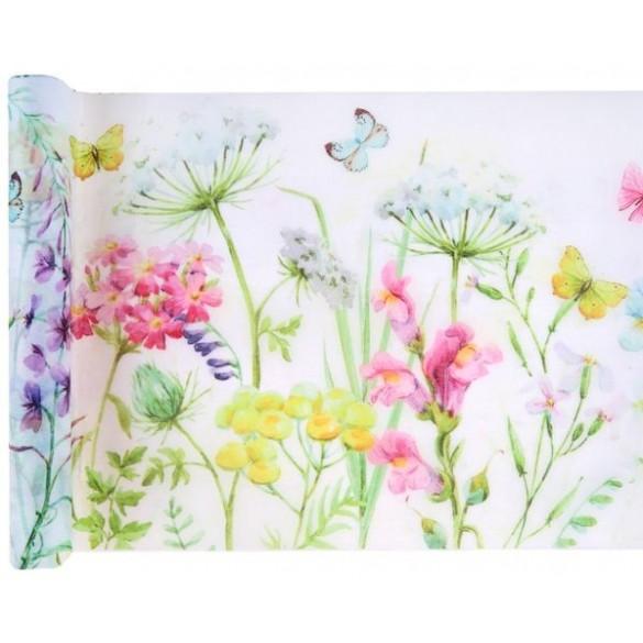 Kit chemin de table Fleurs roses avec papillons