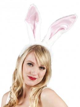 Serre tête lapin blanc et rose