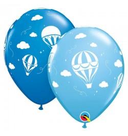 10 ballons petites montgolfières bleu