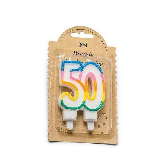 Bougie 50 ans multicolore