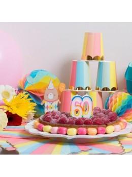 Bougie 60 ans multicolore