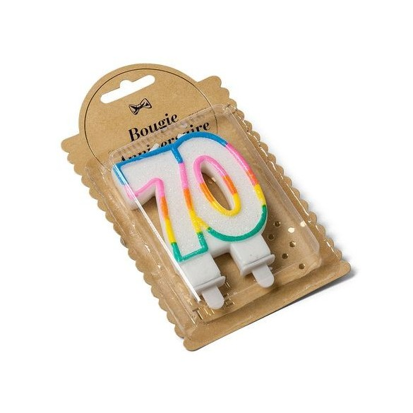 Bougie 70 ans multicolore