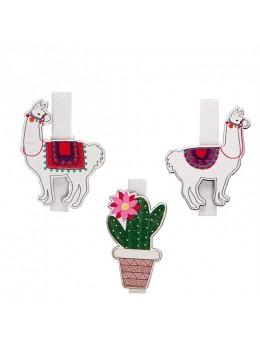 6 pinces Lama et cactus