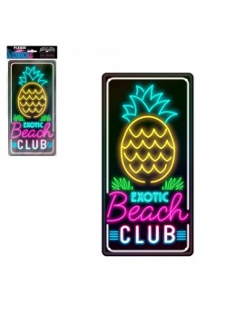 Plaque métal effet néon beach club