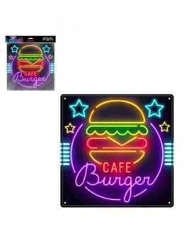 Plaque métal effet néon Burger