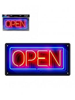 Plaque métal effet néon Open Bar
