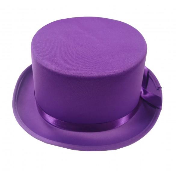 chapeau gibus haut de forme violet