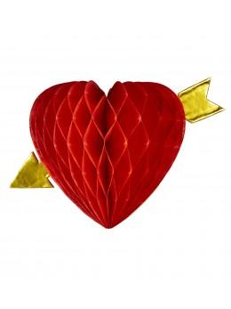 Mini coeur papier 13cm Rouge avec flèche