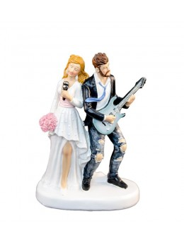 Figurine couple mariés guitare