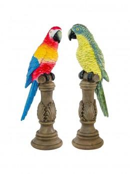 Déco perroquet résine 32cm