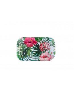 Plateau métal fleurs tropicales 18cm