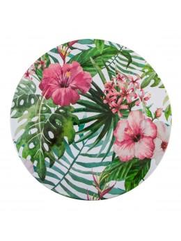 Assiette métal fleurs tropicales 33cm