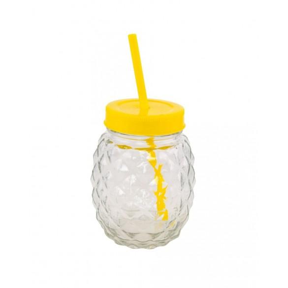 Ananas verre avec paille