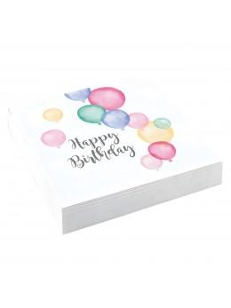 20 serviettes Happy Birthday pastel