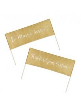 Lot de 2 Pancartes tissu Mariage