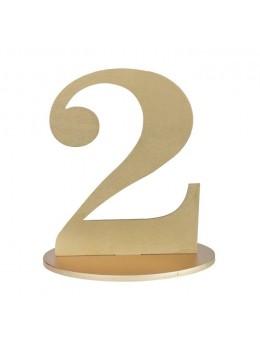 Marque table chiffre 2 doré