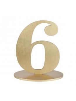 Marque table chiffre 6 doré
