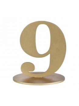 Marque table chiffre 9 doré
