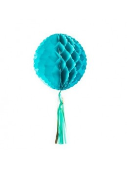 Boule papier vert émeraude 30 cm avec tassel