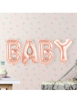"Ballon lettre ""Baby"" rose gold"