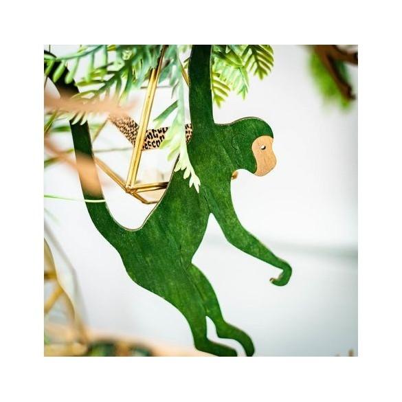 Déco singe bois vert à suspendre