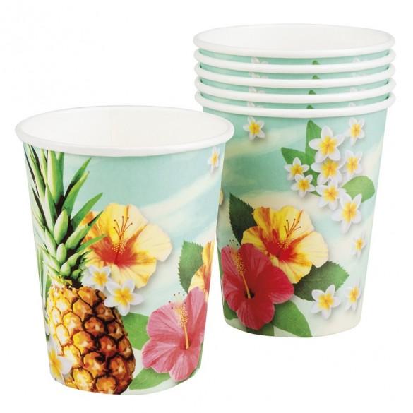 6 Gobelets hawai ananas paradise