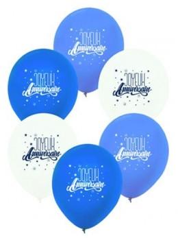 6 Ballons anniversaires bleu et blanc