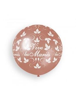 Ballon géant Vive les mariés rose gold