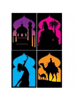 Lot 4 posters carton thème oriental