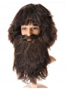 Perruque + barbe viking noire