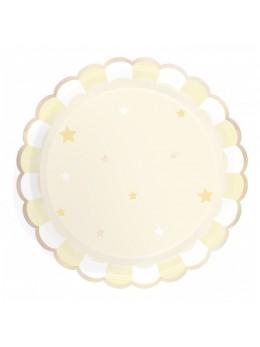 8 Assiettes carton berlingot jaune pastel