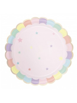 8 Assiettes carton berlingot rose pastel