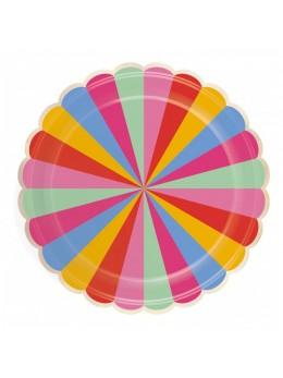 8 Assiettes carton festonnées multicolores