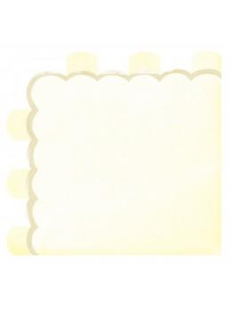 16 Serviettes papier berlingot jaune pastel