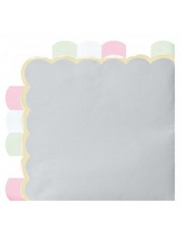16 Serviettes papier berlingot gris pastel