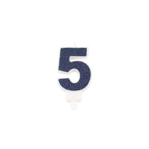 Bougie chiffre 5 bleu