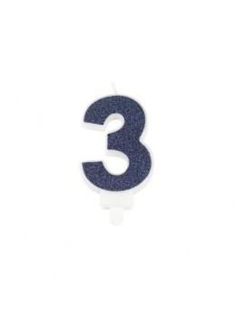 Bougie chiffre 3 bleu